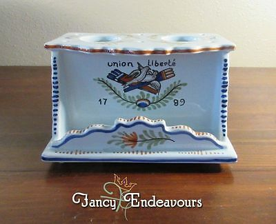 Geo Martel French Faience Armorial Union Liberte 1789 Pottery Maiolica Ink Well