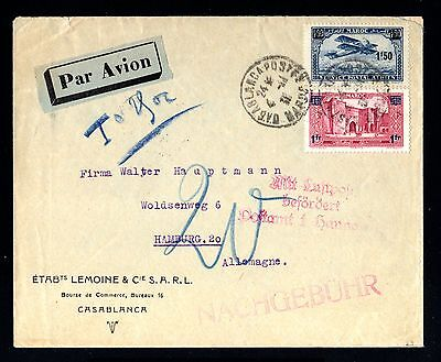 14296-MAROC-AIRMAIL COVER CASABLANCA to GERMANY.1931.Morocco.BEFORDERT.Surcharge