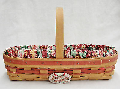 Longaberger 1995 May Basket Fabric Liner w Tulips Plastic Protector and Tie On
