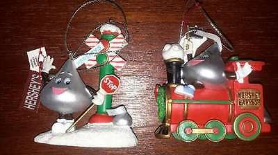 Hershey's Chocolate Red Train And Rr Crossing Ornaments 2004 In Original Box