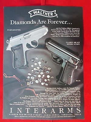 Vintage 1985 Mag. ad 116 Walther.380 double action SS & Blue, Interarms