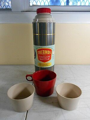 Vtg Thermos Brand Vacuum Bottle 16 oz w/ Original Paper Label 1959 USA  NEW  NOS