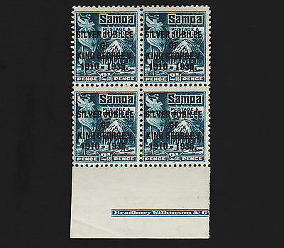OPC 1935 Samoa 2 1/2 KGV Jubilee Inscription Block MNH
