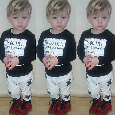 US Stock 2PCS Kids Baby Boy Long Sleeve T-shirt tops +Pants Outfits Set Clothes