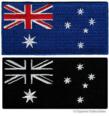 LOT of TWO AUSTRALIAN FLAG EMBROIDERED PATCHES iron-on AUSTRALIA BLACK BLUE new