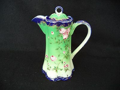 Hand painted Nippon chocolate pot roses on green cobalt blue base, rim, handle