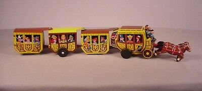 Vintage Western Stagecoach Wind Up tin toy Line Mar Marx Overland Express 1950's