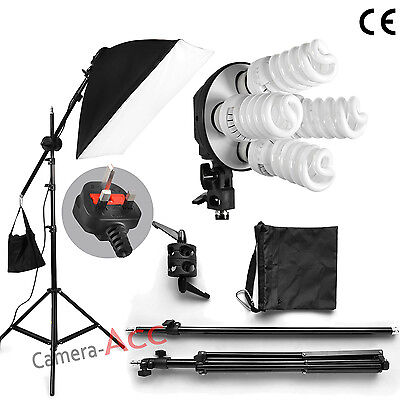 760W Pro Studio Photo Continuous Lighting Softbox Kit Bulb/Boom arm/Carrybag Set