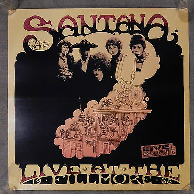 1968 Live At The Fillmore From The Vault Carlos Santana Autograph 24X24 Poster