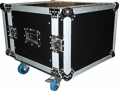 "CTG 8RU 19"" amplifier rack case flightcase on wheels NEW"