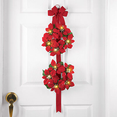 Lighted Poinsettia Double Wreath W/ Large Red Ribbon Bow Christmas Door Decor