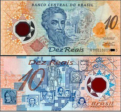 Brazil A0001 1st Prefix 10 Reais First American Polymer banknote Issued p248a