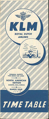 KLM Royal Dutch Airlines North American timetable 3/50 [4051]