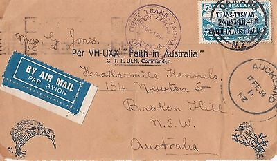 Stamp 7d blue Trans Tasman New Zealand Faith In Australia 1934 cover sent