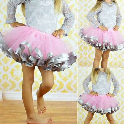 Girls Sweet Dancewear Skirt Tutu Princess Baby Kids Party Ribbon Dress 0-7Y