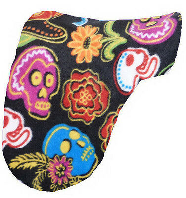"""""""SKULLS AND FLOWERS""""  colorful BLACK FLEECE DRESSAGE SADDLE COVER PROTECTION"""