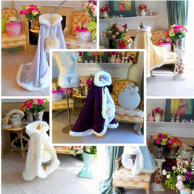 NEW Winter Wedding Flower Girl Cloak Faux Fur Trim Children Girls Jacket Cape