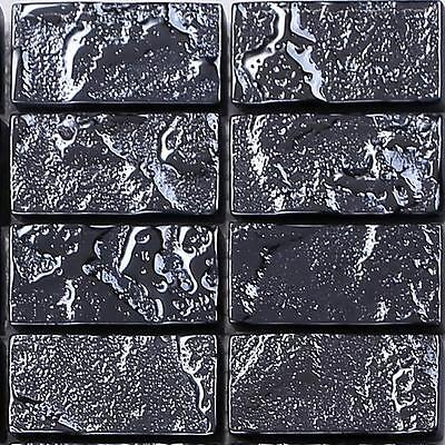 SAMPLE Textured Lava Black Brick Bathroom Feature Mosaic Tiles Sheet MT0120