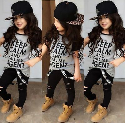 Personalized Kids Toddler Girls Clothes T-shirt Tops Pants Outfits Set US Stock