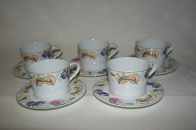LOT of 5 Block Spal  FRUITS ~ Cup & Saucer SETS, Mary Lou Goertzen, MINT
