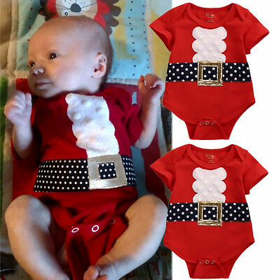 Newborn Kids Baby Girls Boys Christmas Romper Bodysuit Jumpsuit Outfits Clothes
