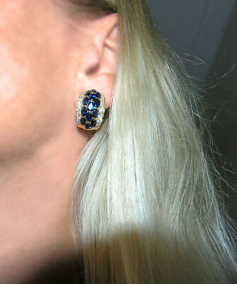 Grandiose Safir Brillant Ohrringe 6,60 ct Safire + Brillanten / 750 Gold 18 kt