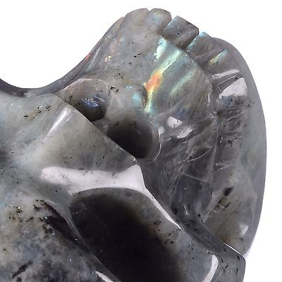 "5.91"" Natural Labradorite Carved Smiling Skull,Collectibles#22D51"