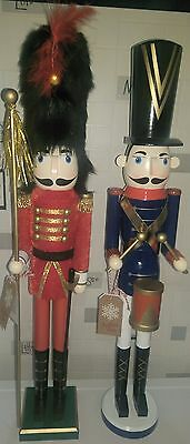 Christmas Nutcracker Soldiers Extra Large Set Of 2 Guard 62Cms On Stands Bnwt