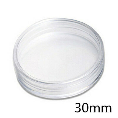 10x Clear Round Plastic Cases Coin Storage Capsules Holder Small 30mm FG