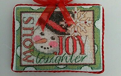 Completed finished cross stitch ornament / door hanger