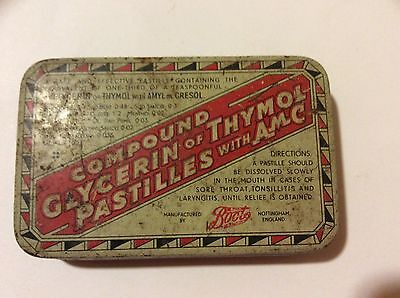 Vintage Tin Compound Glycerin Of Thymol Pastilles With A.m.c
