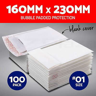 100X #01 Bubble Padded Bag 160x230mm Mailer Envelope White Blank Cover Size 01
