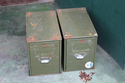 Vintage Green Industrial Metal 2 Drawer Desk Top Card Index Filing Cabinet