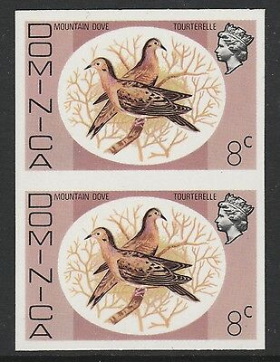 Dominica (S95) 1975 definitives 8c Zenaida Dove  IMPERFORATE PAIR  unmounted