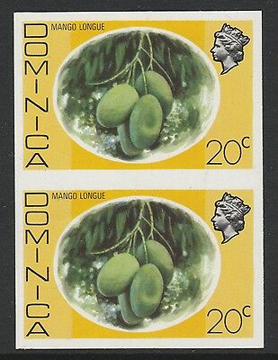 Dominica (S97) 1975 definitives 20c Mango Longue  IMPERFORATE PAIR  unmounted