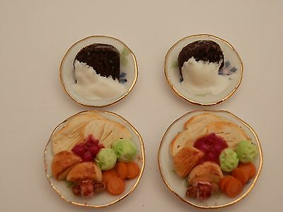 Dolls house food: Christmas day turkey dinner & xmas pudding for 2-By Fran