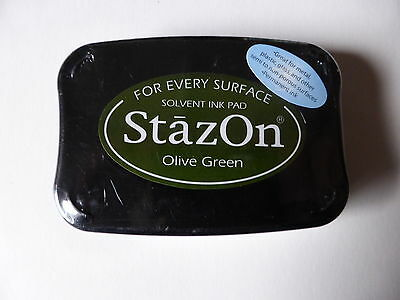 *NEW* Tsukineko STAZON Full Size Permanent Solvent Ink Pad 'OLIVE GREEN'