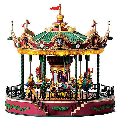 Lemax Sights & Sounds :Elegant Equestrian Carousel-Perfect for O Scale Layouts