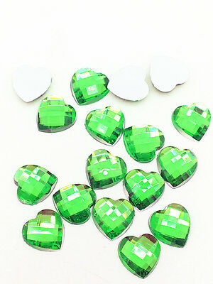 New 100pcs Resin Faceted Heart Crystal 10mm Flatback For DIY Phone Crafts Green