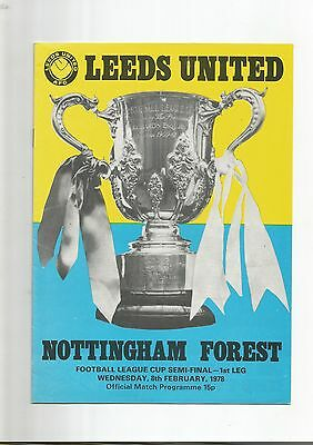 League Cup Semi-Final Leeds United v Notts Forest 1978 VGC