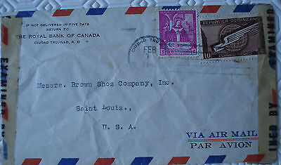 2nd World War Republica Dominica cover with 2 x stamps posted to St Louis, USA