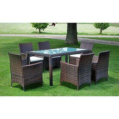 Poly Rattan Garden Dining Furniture Set 1 Table/6 Chairs Outdoor Indoor brown