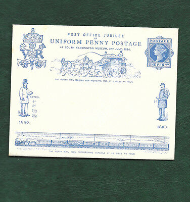 GB 1890 Uniform Penny Postage envelope with insert card unused