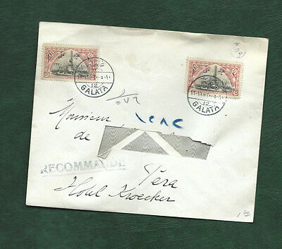 Turkey Ottoman empire 2 old stamps on cover postmarked GALATA