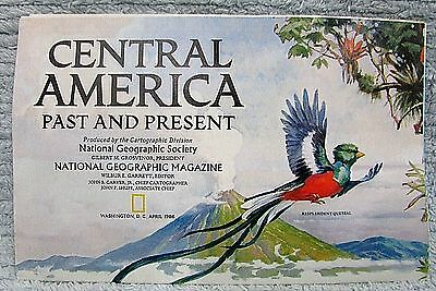 Old 1986 National Geographic Vintage Central America Past Present Map FREE S/H