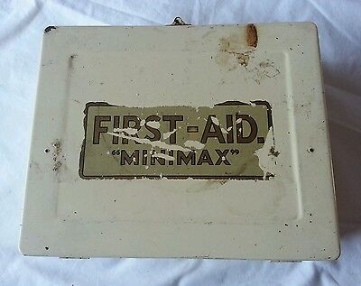 Vintage Minimax First Aid Kit and contents. Metal cream tin box