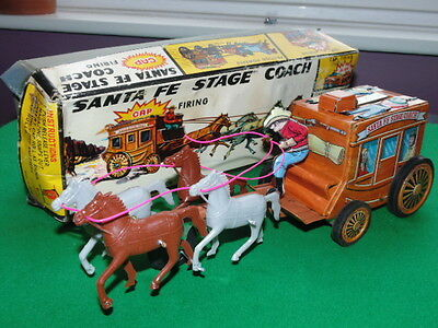 Vintage Frankonia Toys Santa Fe Stage Coach Tinplate Boxed Made In Japan