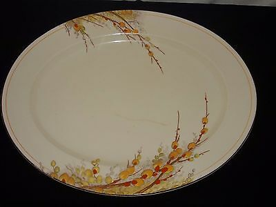 """Crown Ducal Art Deco """"pussy Willow"""" Pattern Oval Platter Plate (14.5"""" X 11.5"""")"""