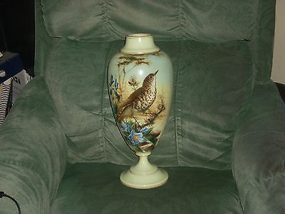 Large Victorian Opaque Glass Vases Handpainted With Birds & Flowers