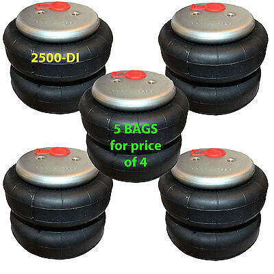 "set of 5 air bag standard 2500 D-I  1/2"" Fittings ride springs bags"